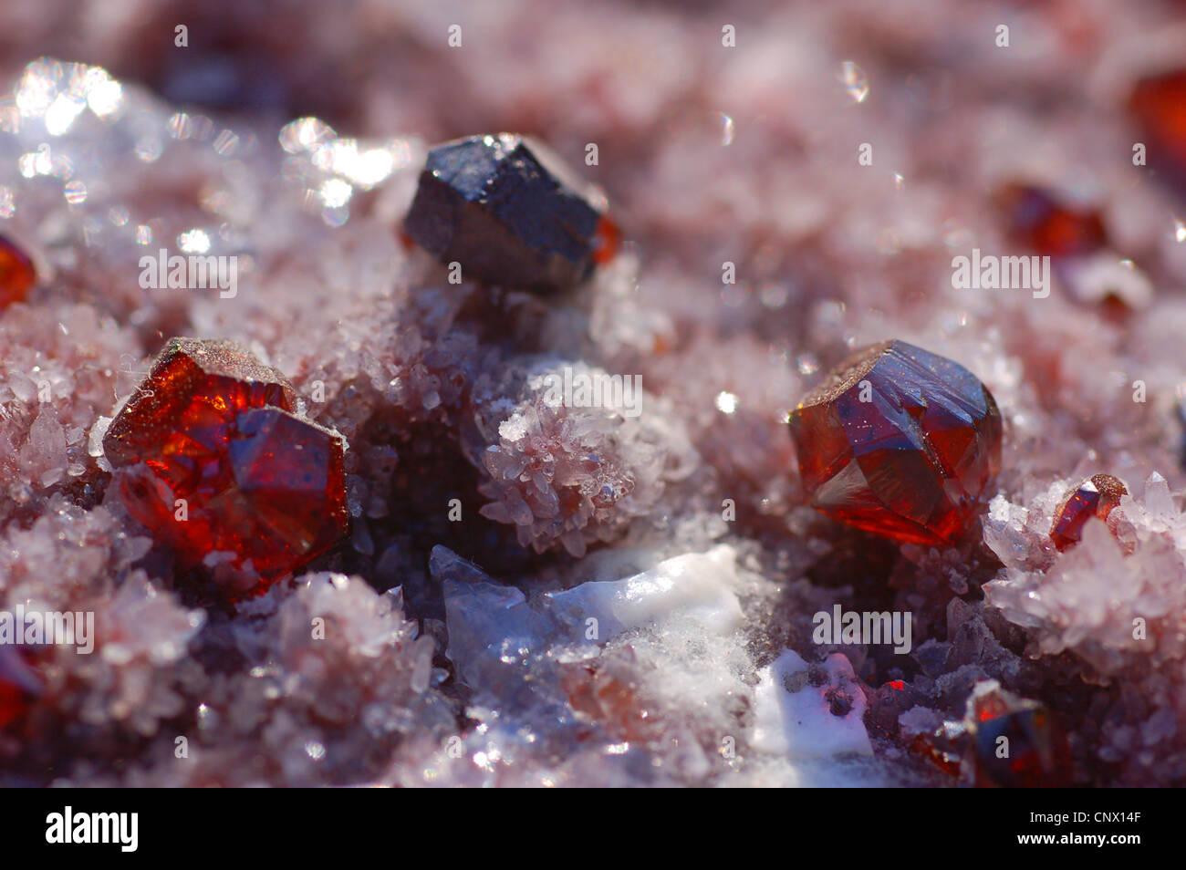 sphalerite crystals on quartz - Stock Image