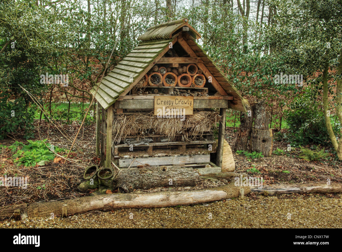 A bug house, named Creepy Crawly Cottage,  at Boughton House, Nothamptonshire - Stock Image