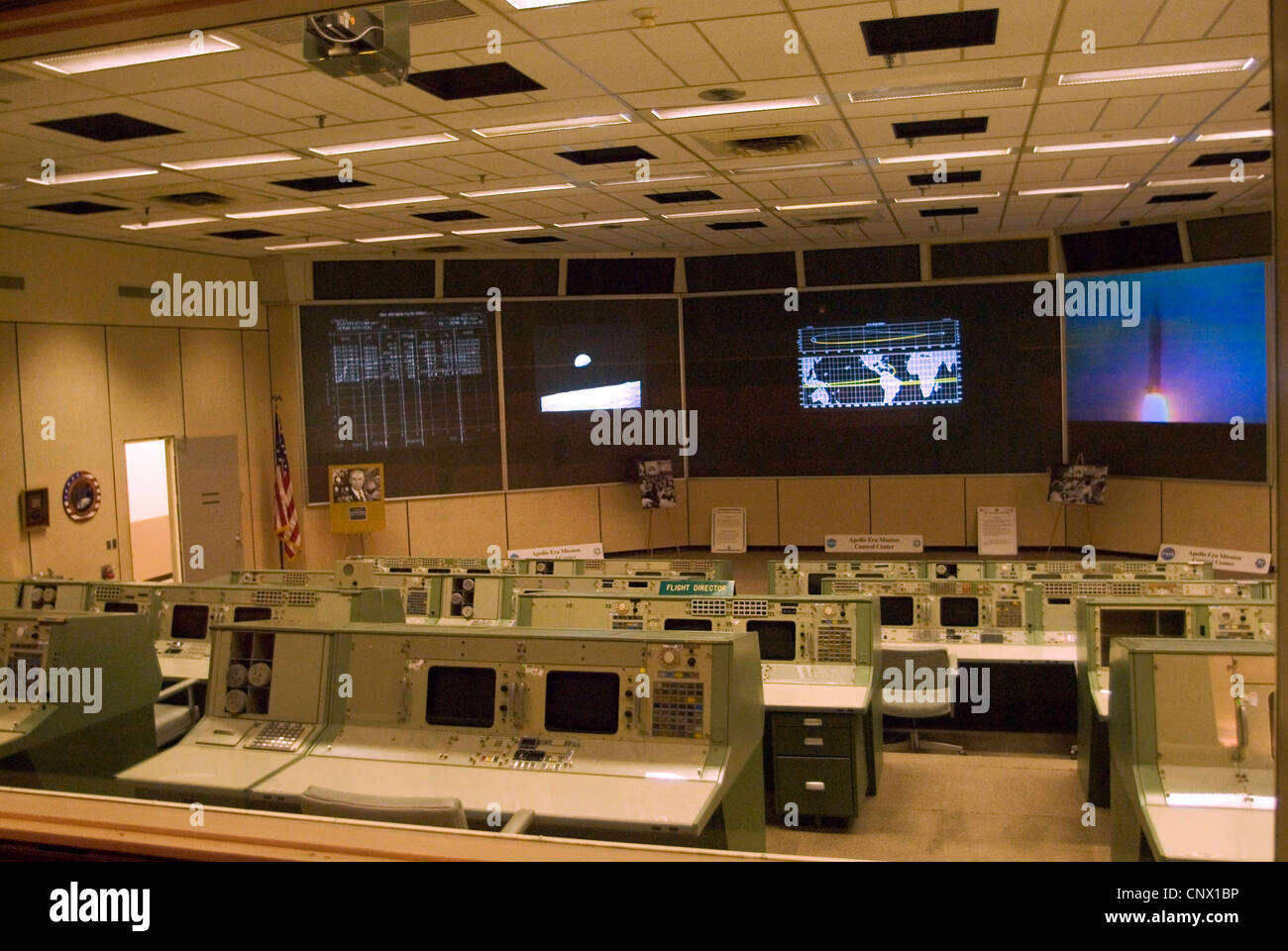 Apollo mission control room at NASA's Johnson Space Center. - Stock Image