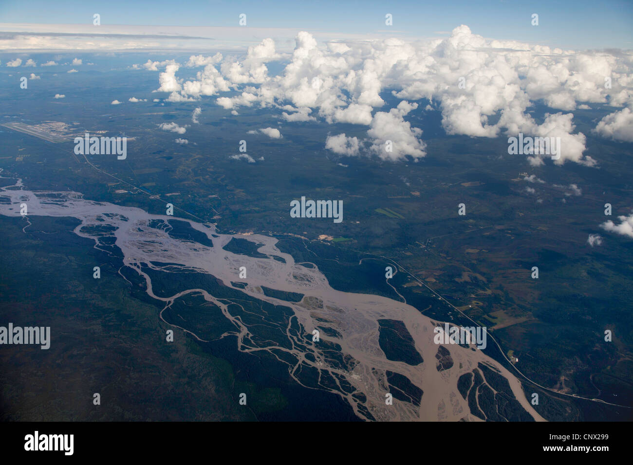 aerial view of Tanana River near Fairbanks, USA, Alaska - Stock Image