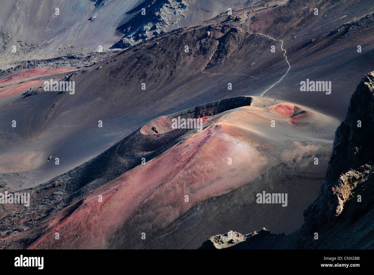 volcanic cone in the crater of Haleakala, USA, Hawaii, Maui Stock Photo