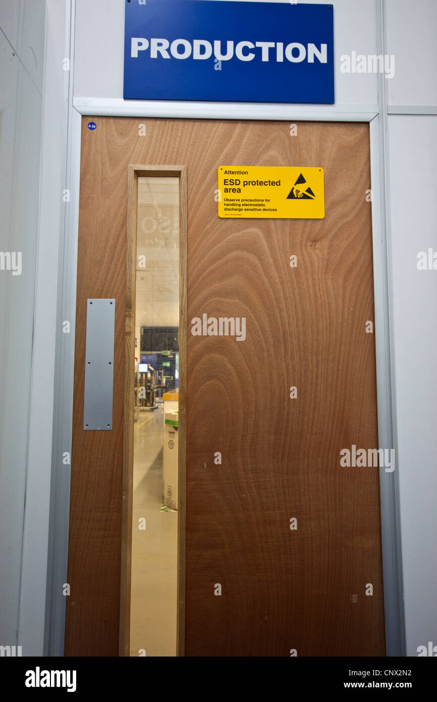 ESD Protected Area Entrance Door In Electronics Manufacturing Assembly  Facility Factory.