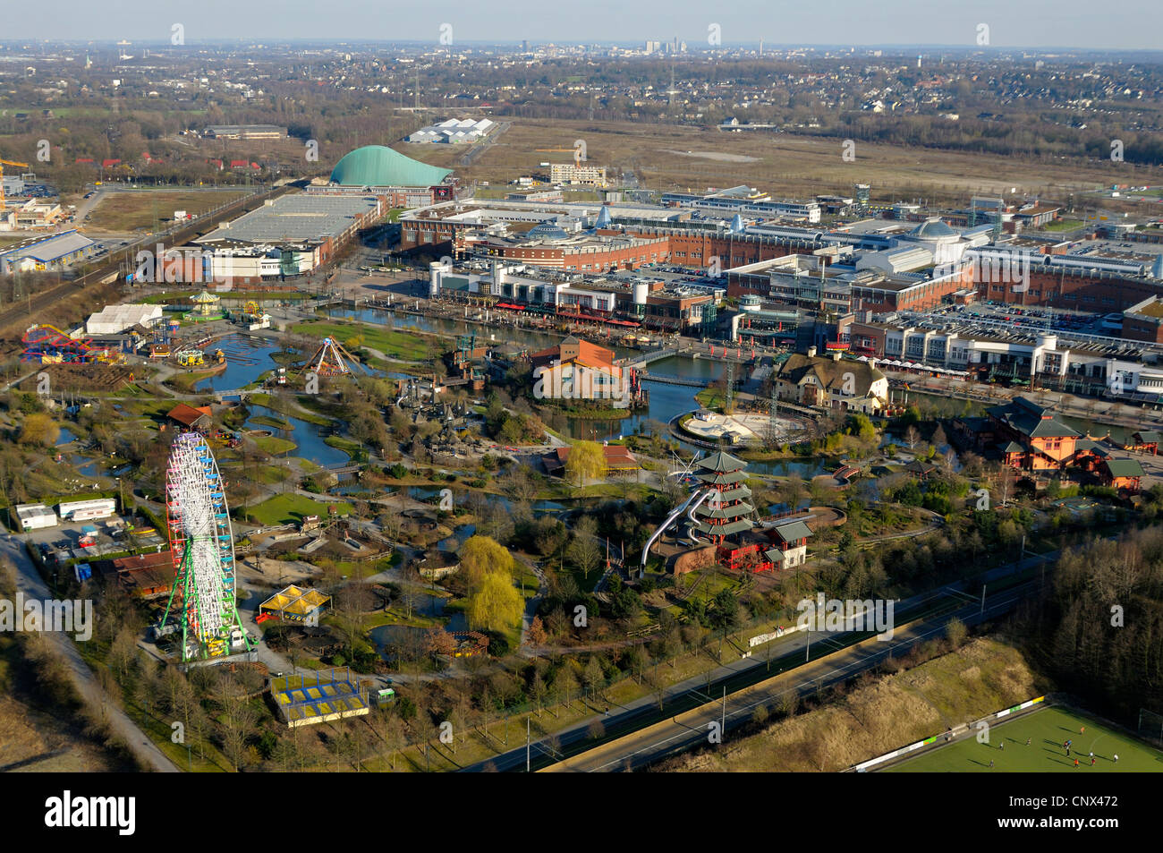 view from gasometer Oberhausen of CentrO, centro park in the foregrund, Germany, North Rhine-Westphalia, Ruhr Area, Stock Photo