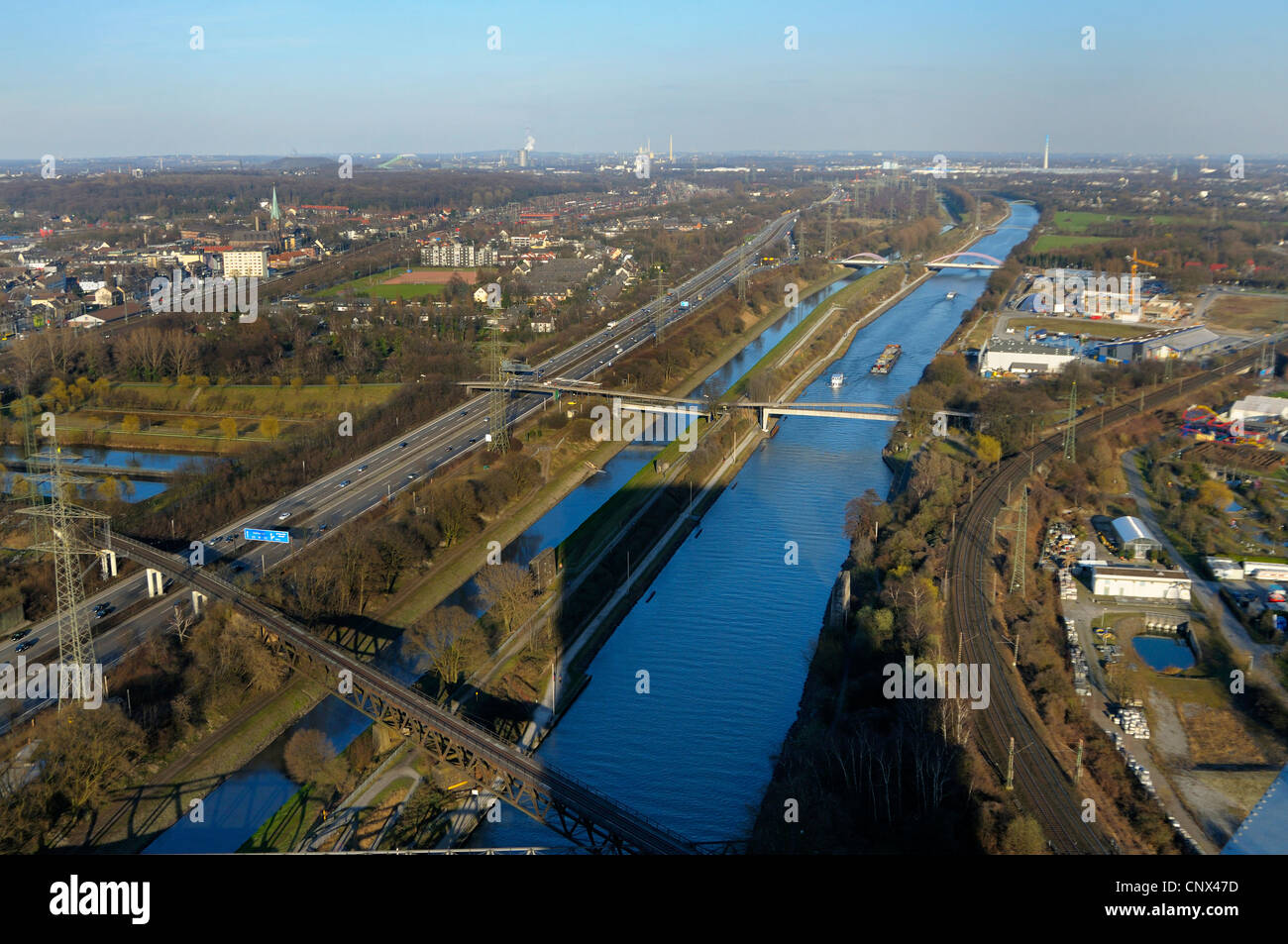 view from gasometer of Rhein Herne chanel, Emscher river, and highway A42, Germany, North Rhine-Westphalia, Ruhr - Stock Image
