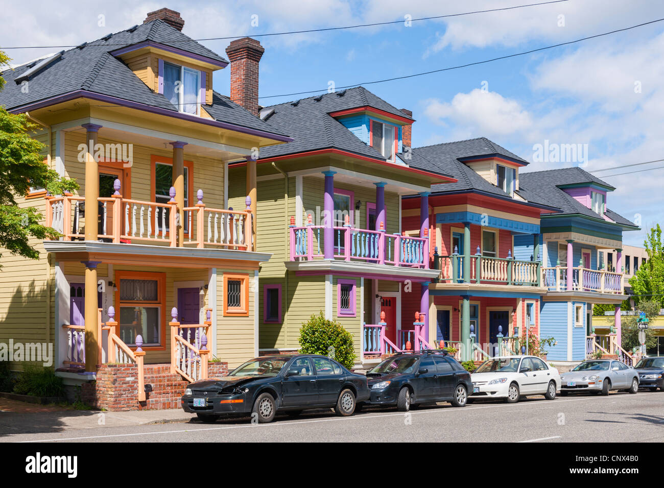Colourful Townhouses, Portland - Stock Image
