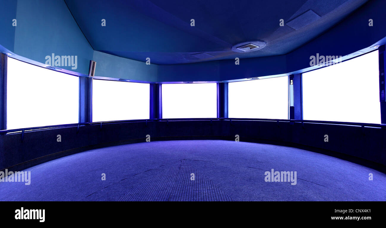 Interior with blank white screens, put your own images here - Stock Image