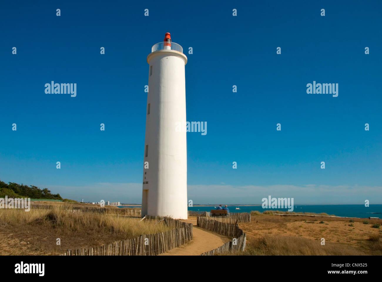 lighthouse 'Feu de Grosse Terre', France, Saint-Gilles-Croix-de-Vie Stock Photo