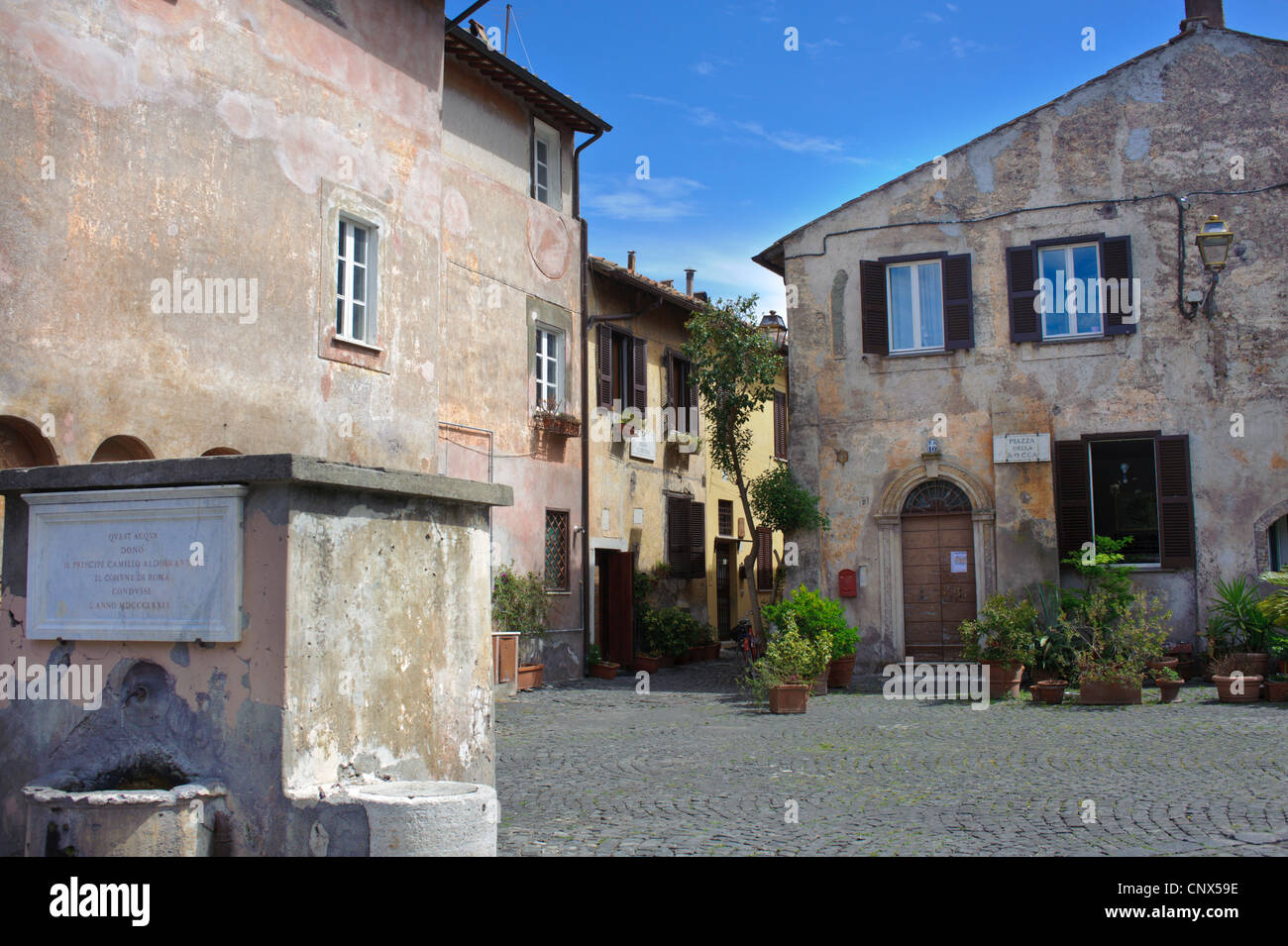 Town square of Ostia Italy - Stock Image