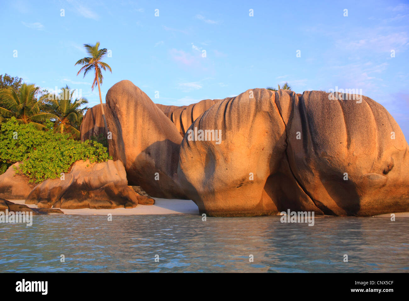 granite formation on the beach Anse Grande Source, Seychelles, La Digue - Stock Image