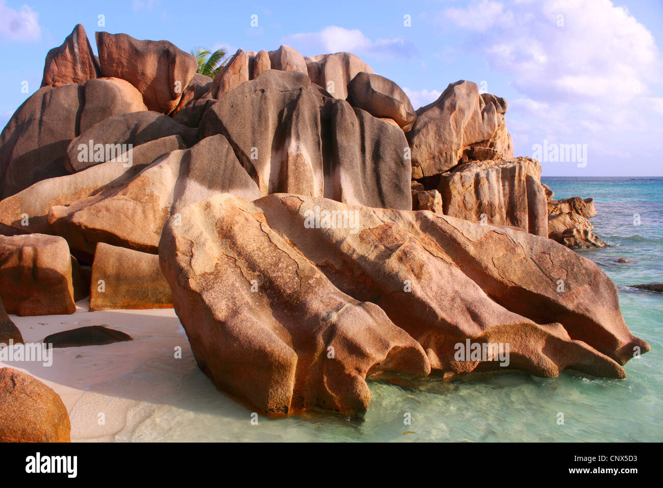 granite formation on the beach Anse Coco, Seychelles, La Digue - Stock Image