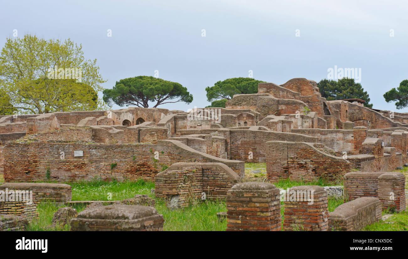 Necropolis or cemetery at Ostia Antica - Stock Image