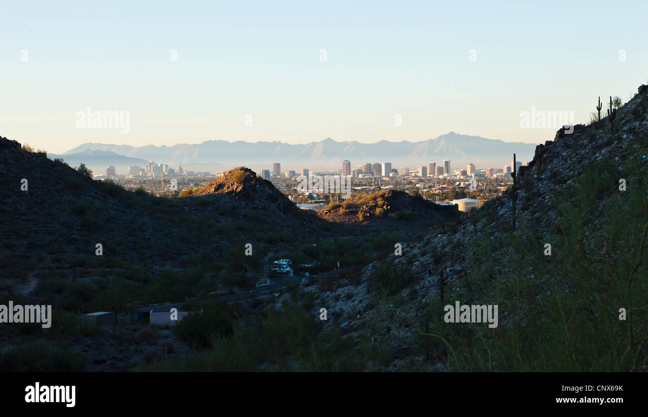 A view of downtown Phoenix, Arizona see from Piestewa Peak Mountain Park. - Stock Image