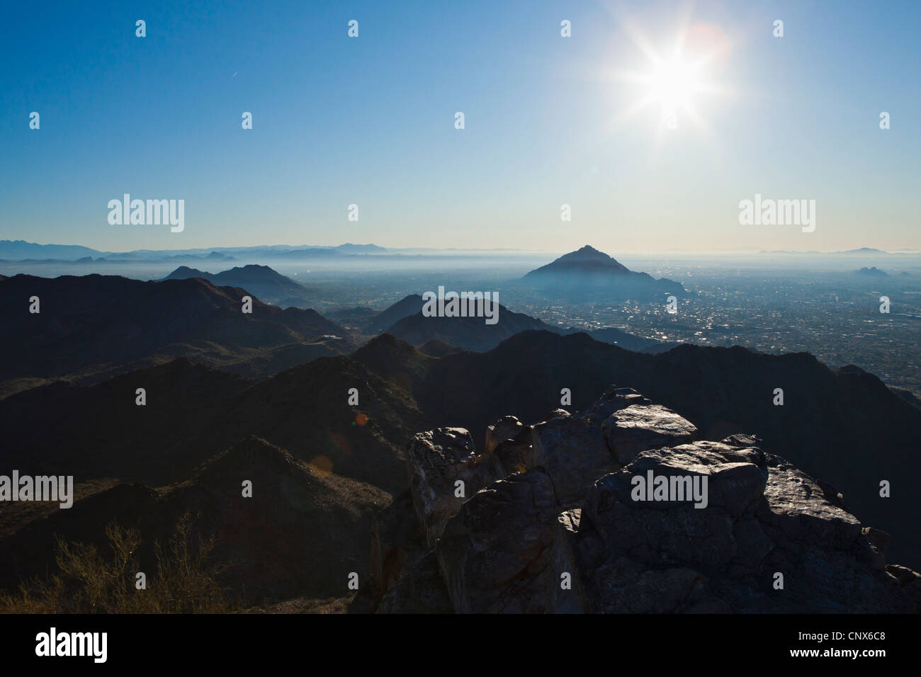Morning view from the top of Piestawa Peak looking Southeast over Scottsdale, Paradise Valley, and Phoenix, Arizona, - Stock Image