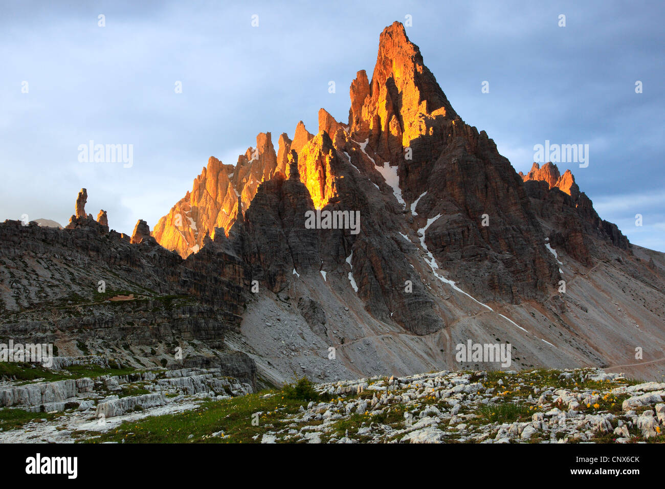 'Paternkofel' (2744 m) at the Dolomites with the top illuminated by morning light, Italy, South Tyrol, Dolomites Stock Photo
