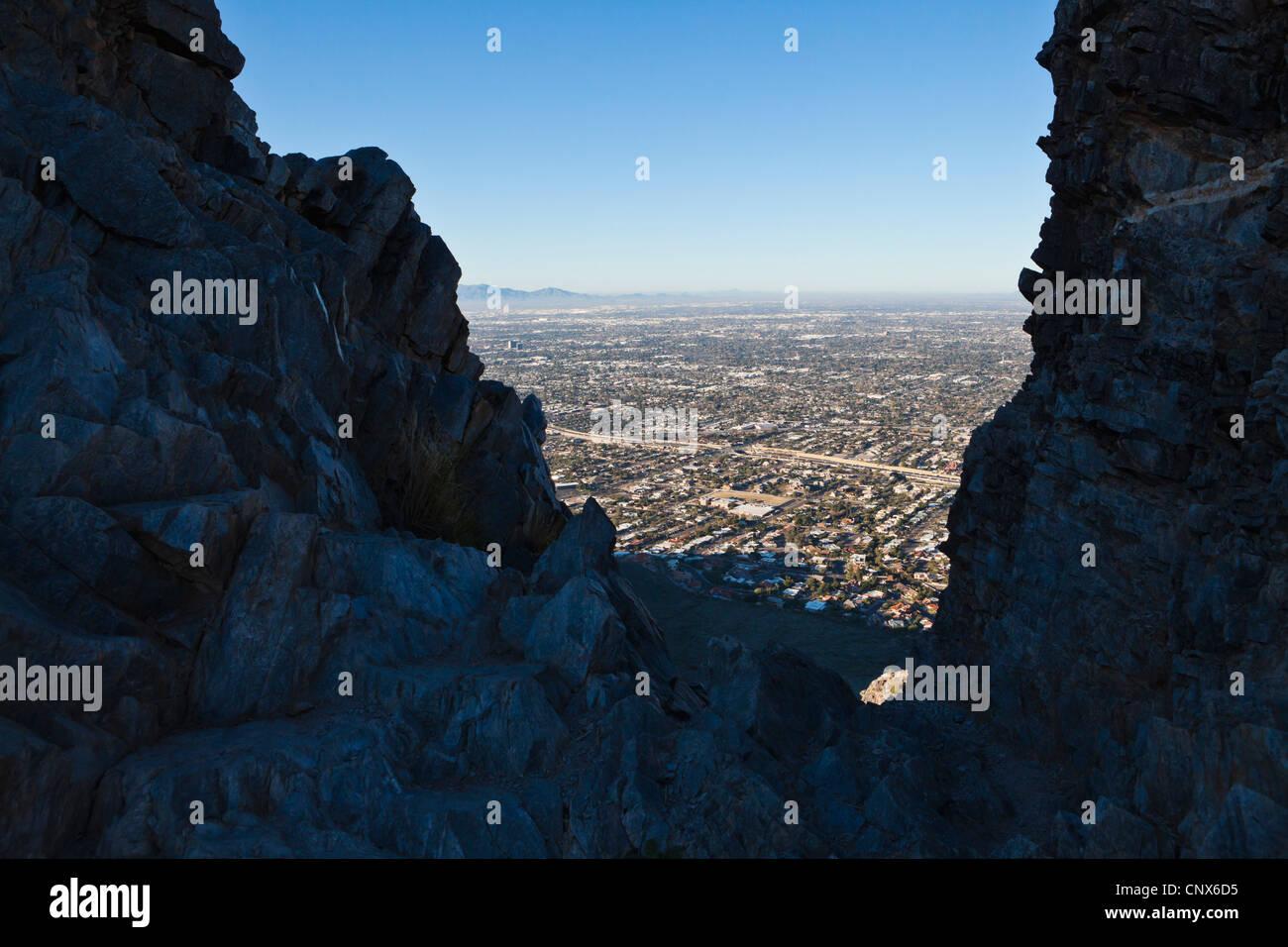 Phoenix, Arizona seen from the top of Piestewa Peak. - Stock Image