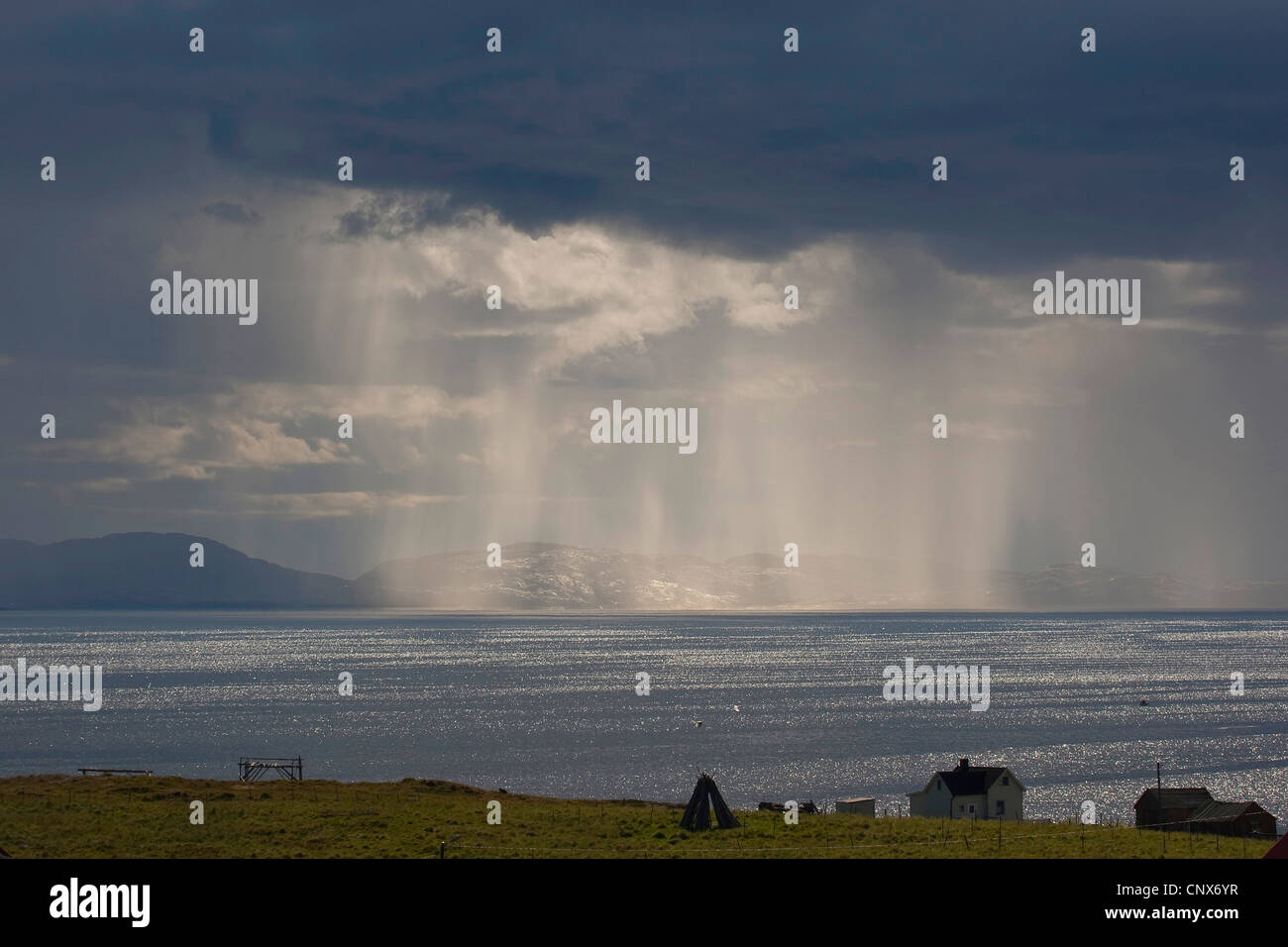 rain over the sea, Norway, Norway, Varanger Peninsula, Ekkeroy - Stock Image