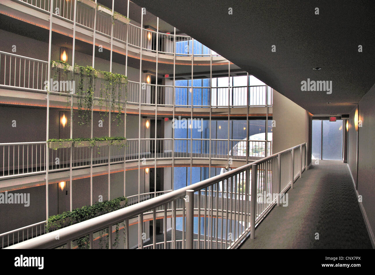 Florida, Miami, The Grand Condominium, The Atrium - Stock Image