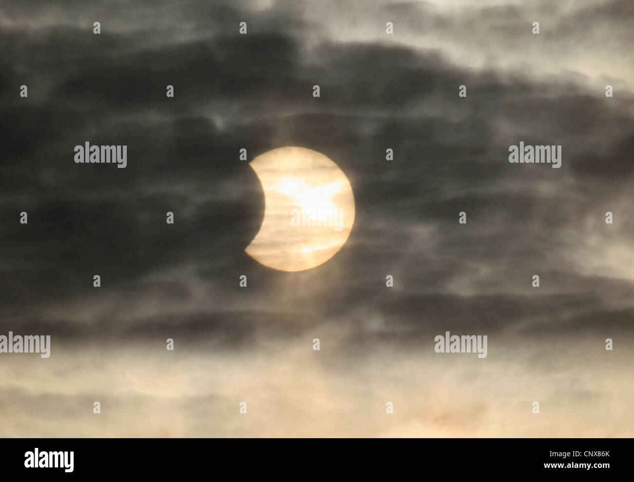 partial solar eclipse, Germany, Ruhr Area, Witten - Stock Image