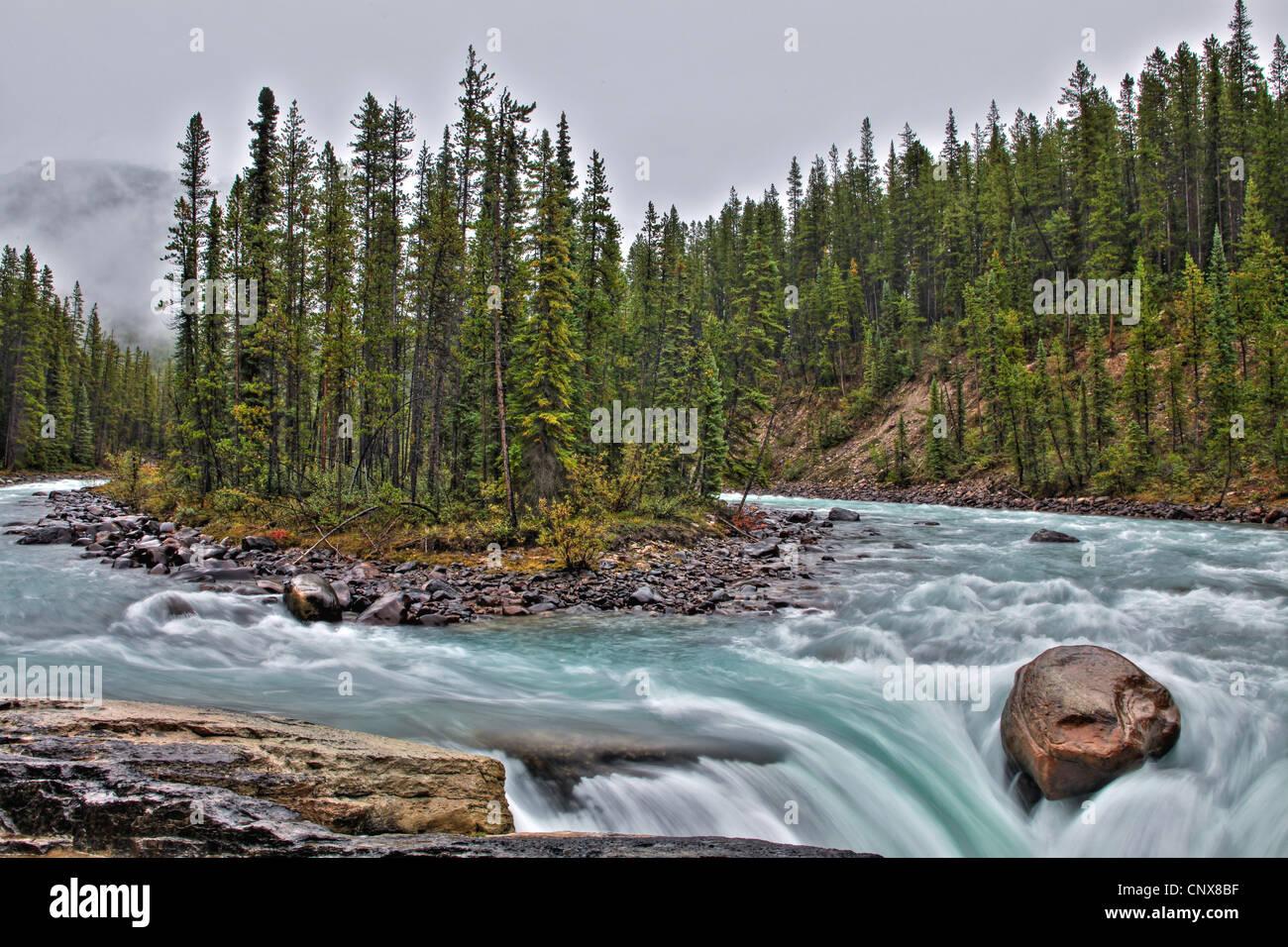 Sunwapta Falls, Canada, Alberta, Jasper National Park, Sunwapta falls Stock Photo