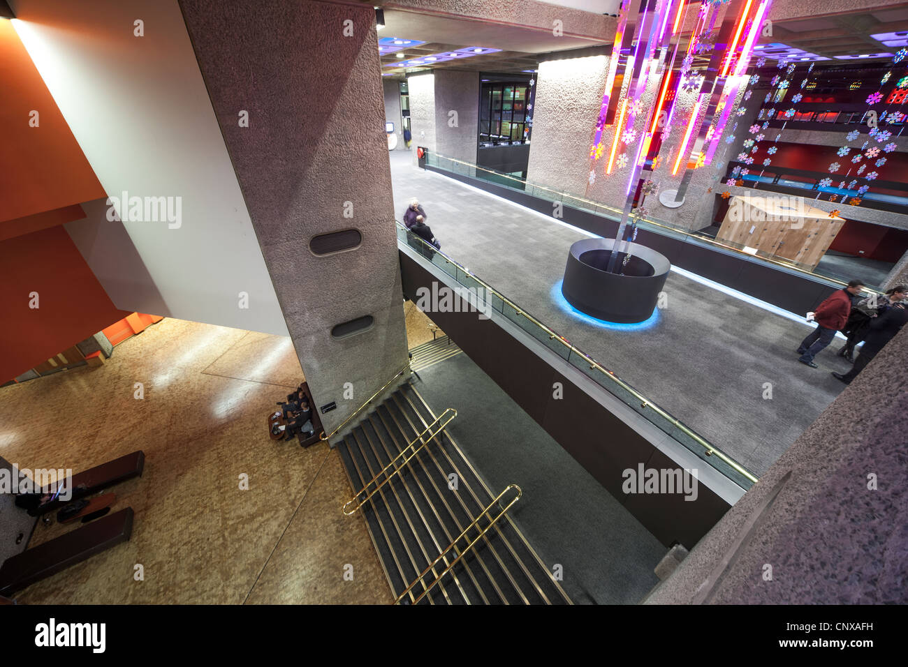 London, UK, Barbican Centre Center interior  with people, visitors, - Stock Image