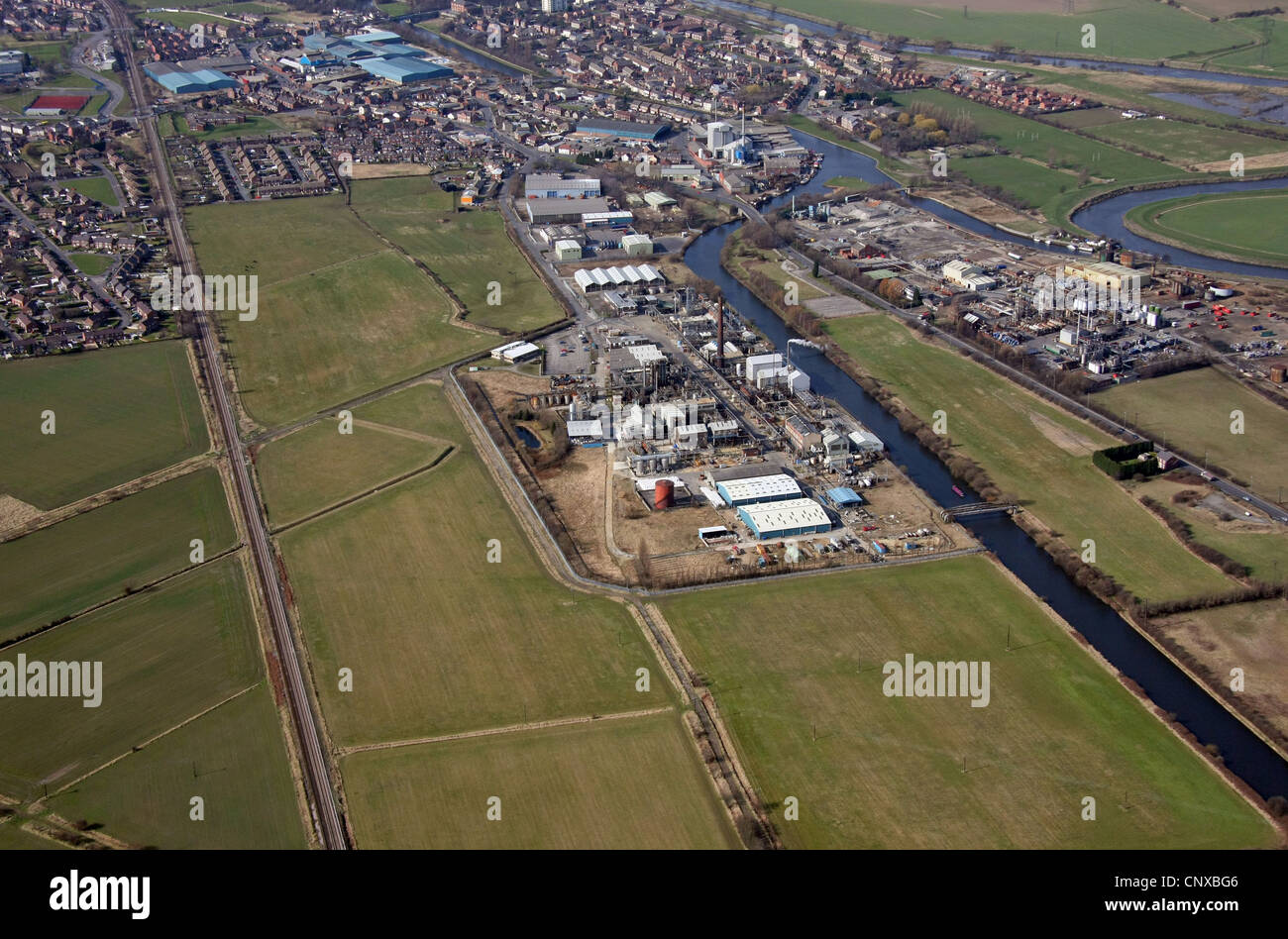 aerial view of a chemical works at Common Lane, Knottingley, West Yorkshire - Stock Image