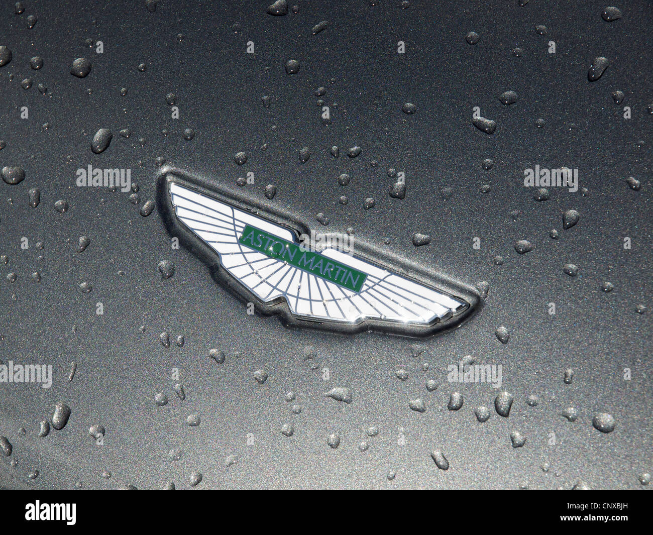 Aston Martin badge on bonnet with fancy metallic paintjob, with raindrops. Stock Photo