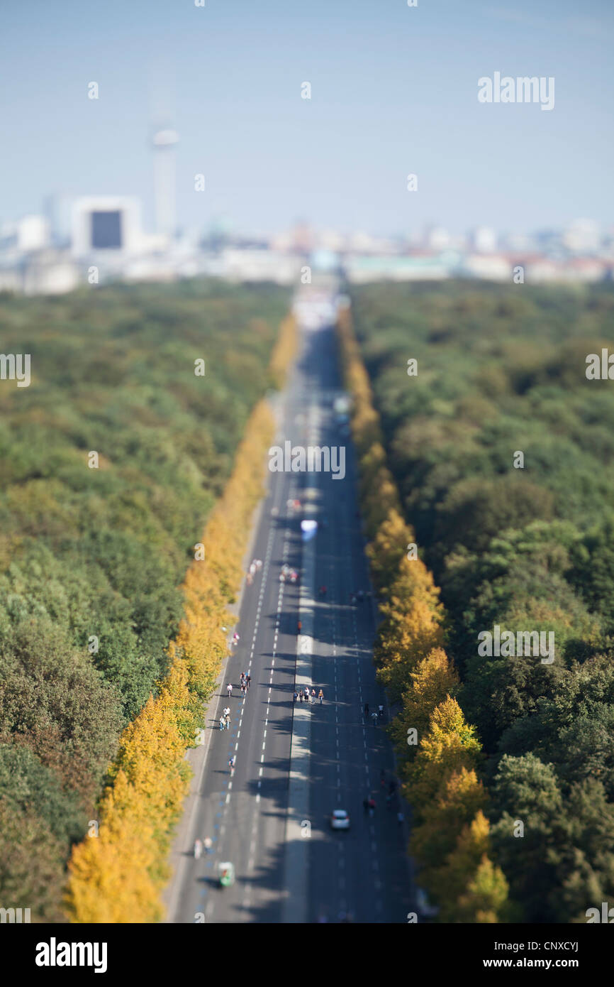 Berlin cityscape of the Tiergarten and city in background, tilt-shift - Stock Image