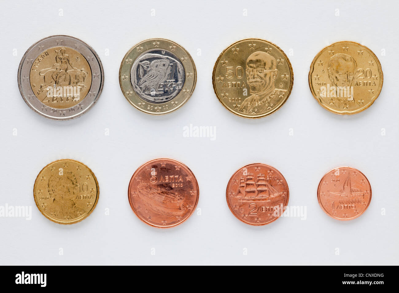 Greek euro coins arranged in numerical order, rear view - Stock Image