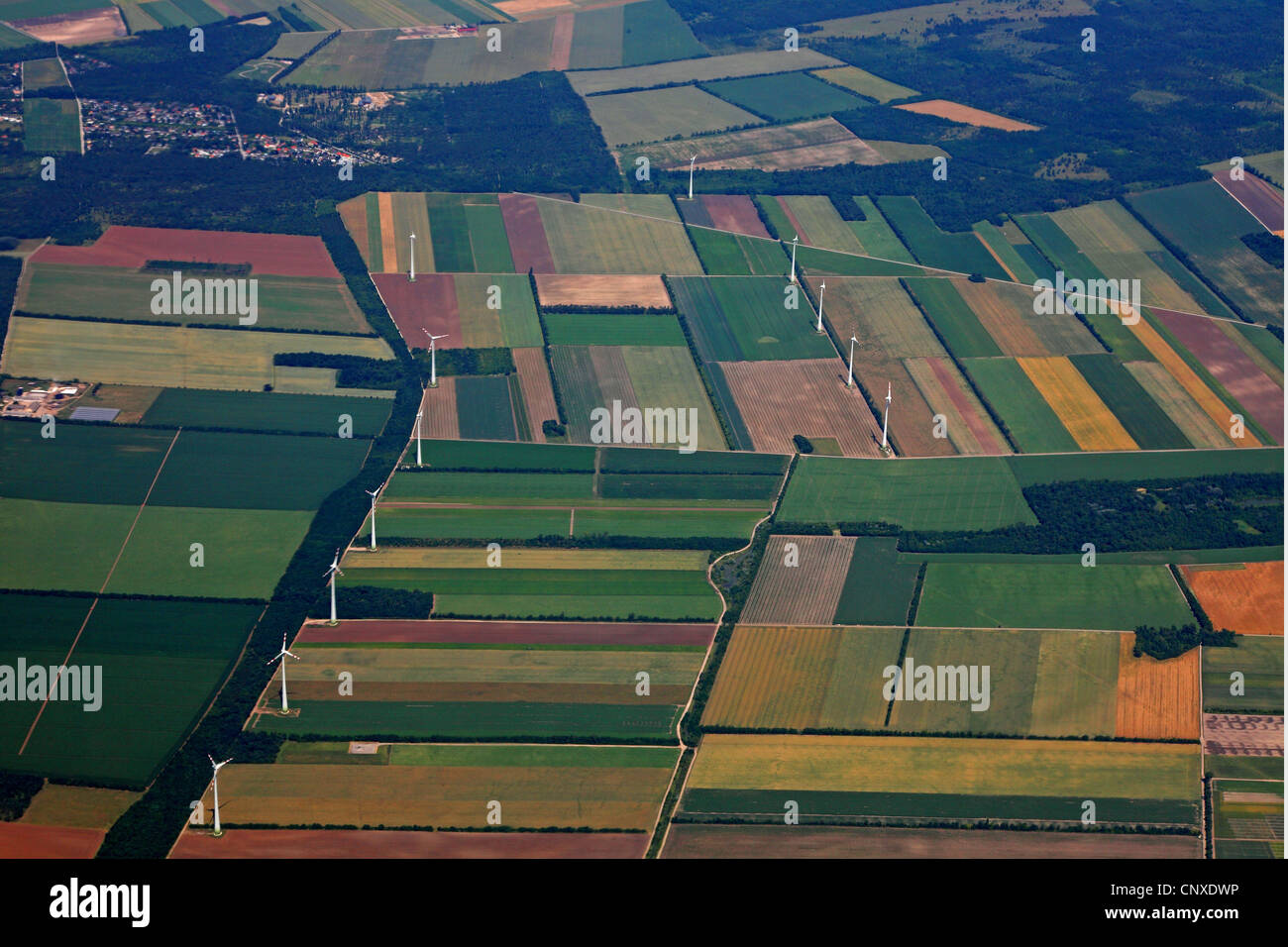wind power stations in agricultural landscape, Austria, Burgenland - Stock Image