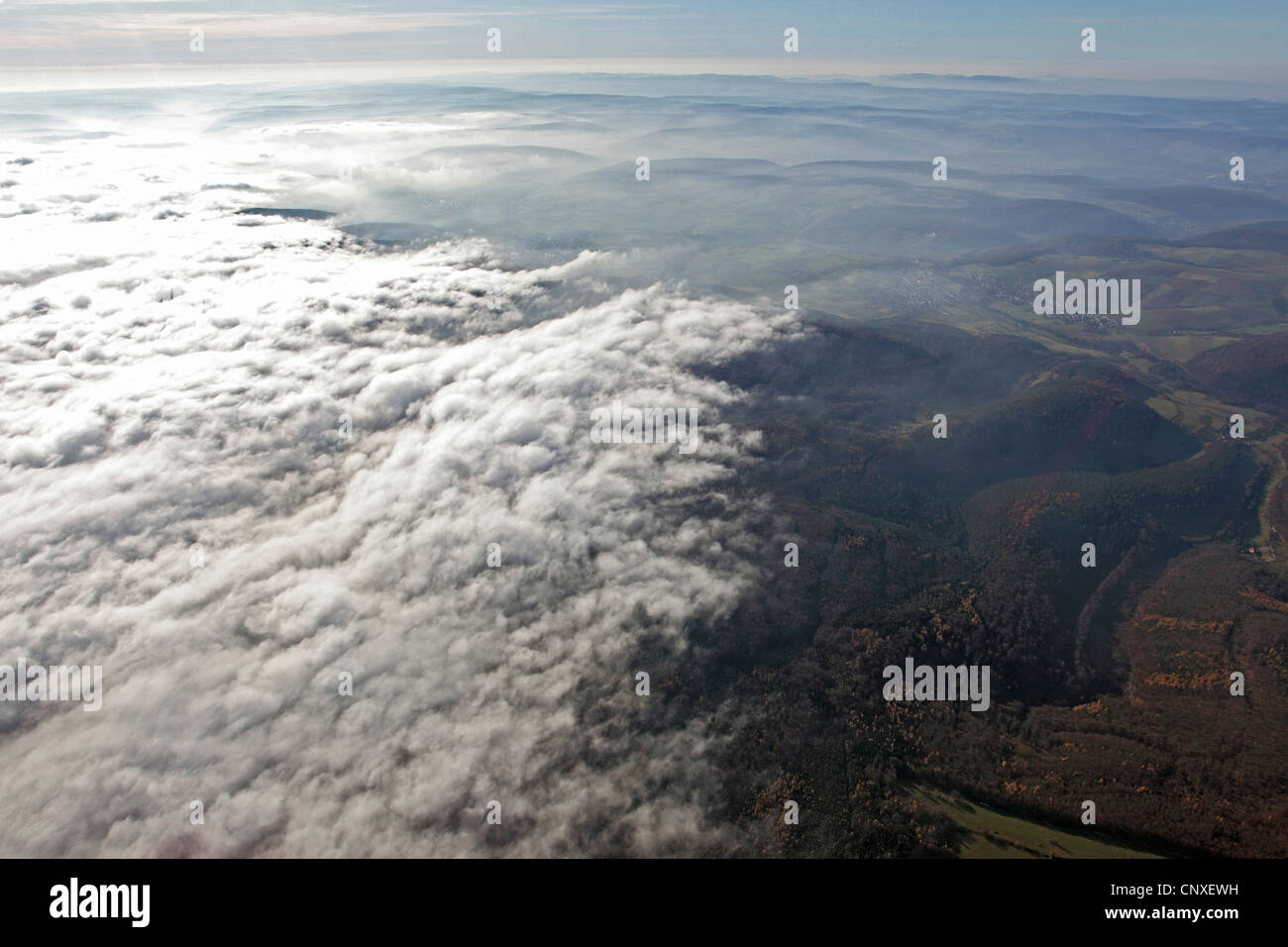 view to clouds and fog boundary, Germany - Stock Image
