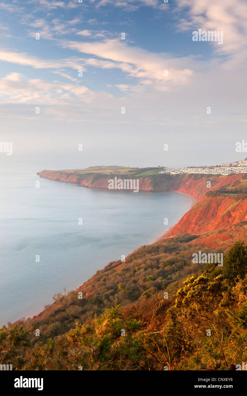 Looking towards Littleham Cove and Straight Point from West Down Beacon, Jurrasic Coast, Devon, England. Winter - Stock Image