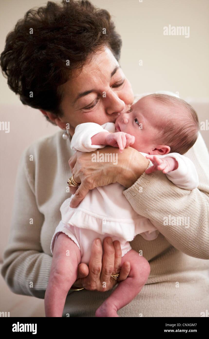 grandmother with baby girl - Stock Image