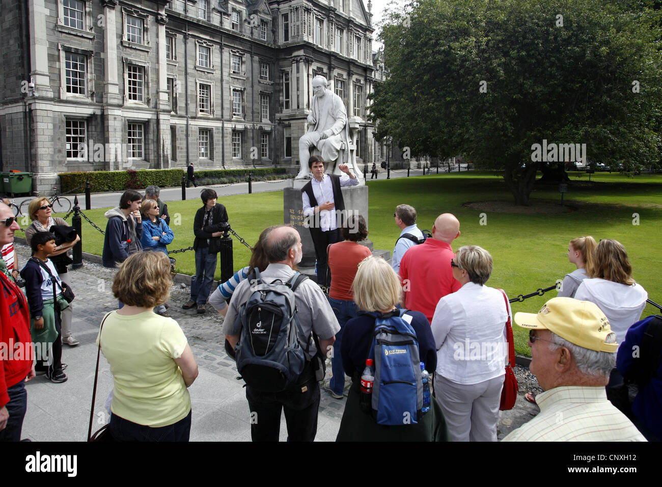Guided Tour & Statue of George Salmon, Trinity College, Dublin, Ireland - Stock Image