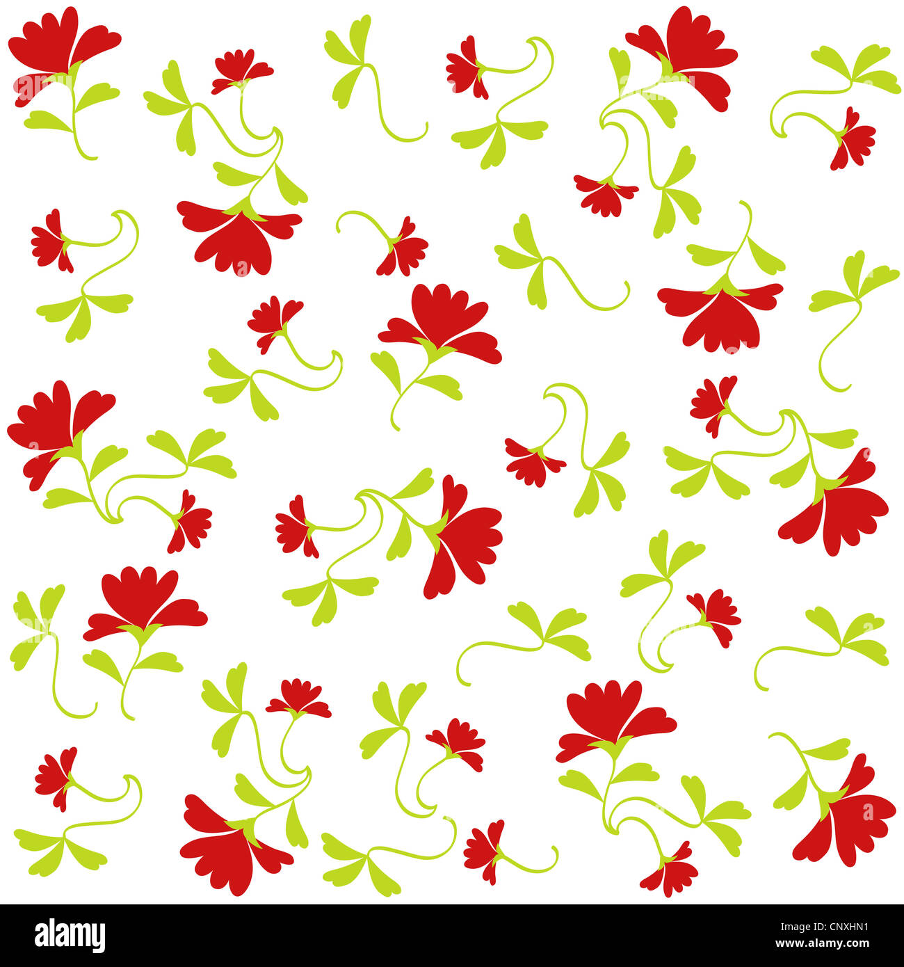 Beautiful red flowers and green leaves pattern on white Stock Photo