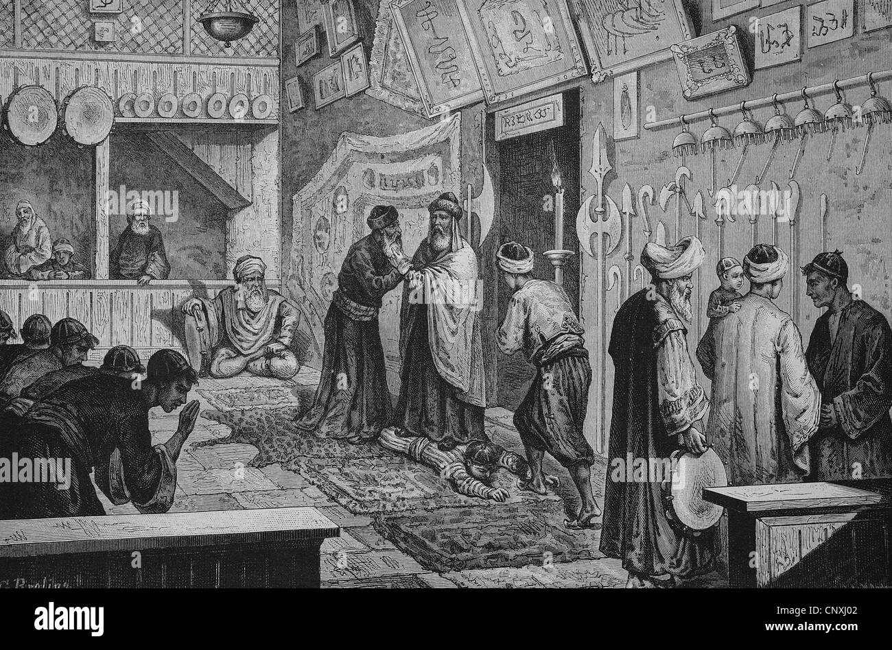Miracle healing in the Monastery of the Howling Dervishes in Scutari, today Shkodra, Albania, historical engraving, - Stock Image
