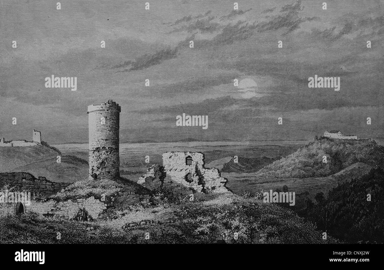 Drei Gleichen, a medieval castle ensemble, Thuringia, Germany, historical engraving, 1883 Stock Photo