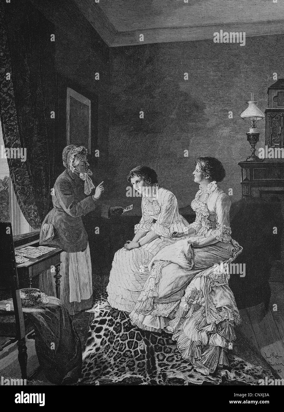 At the fortune-teller, historical engraving, 1883 - Stock Image