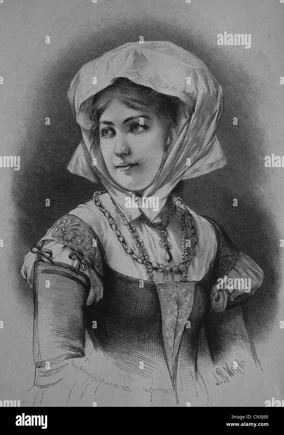 German bourgeouis girl from the 16th Century, historical engraving, 1883 - Stock Image