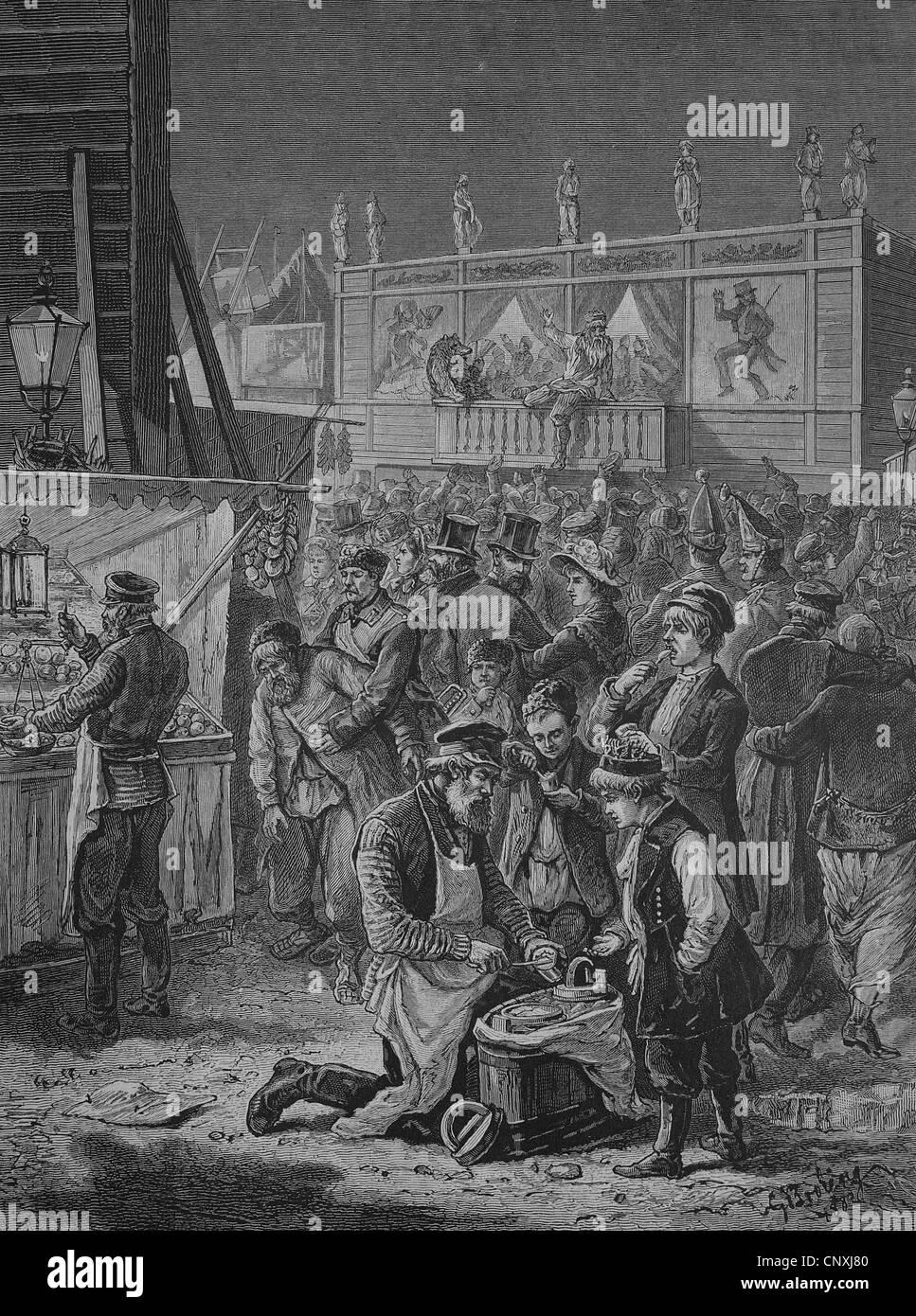 Osterfest auf dem Marsfeld in St. Petersburg, historischer Stich, 1883 - Stock Image