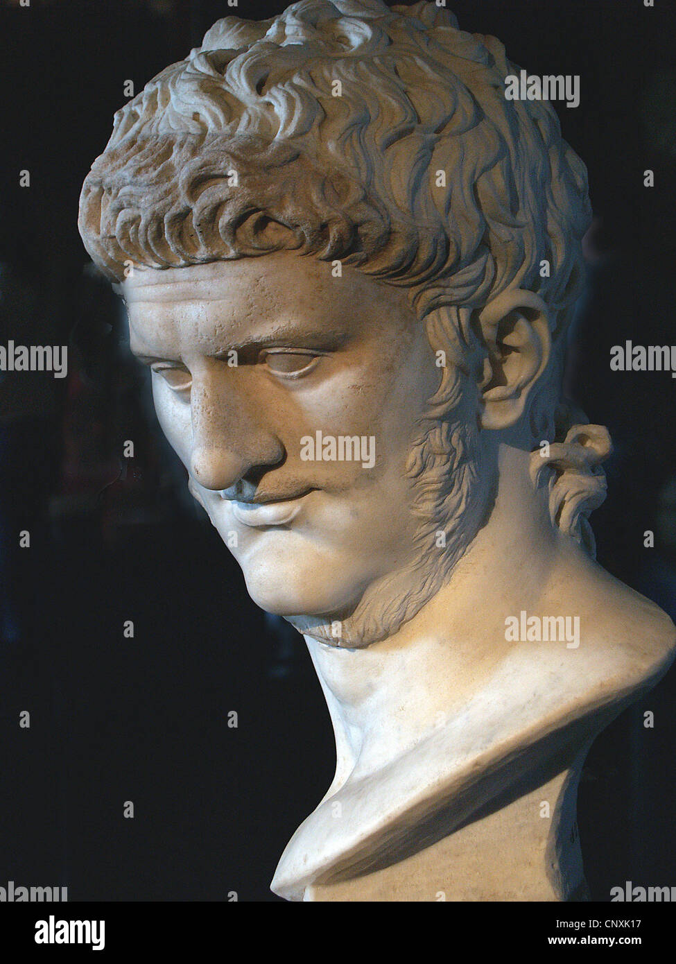 Bust of Emperor Nero in the Curia of Roman Forum,Rome - Stock Image