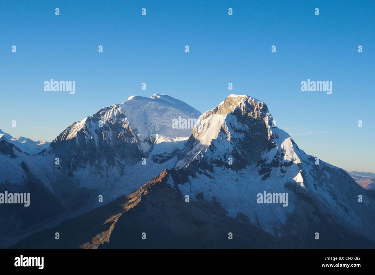 view from Navado Pisco to Huascaran, Peru, Andes, Cordillera Blanca Stock Photo