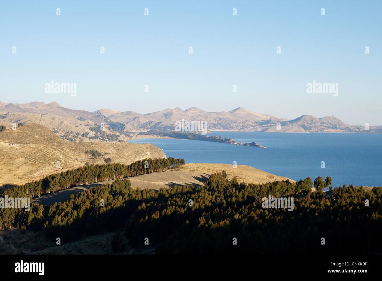 Lake Titicaca with Isla del Sol , Bolivia, Andes - Stock Image