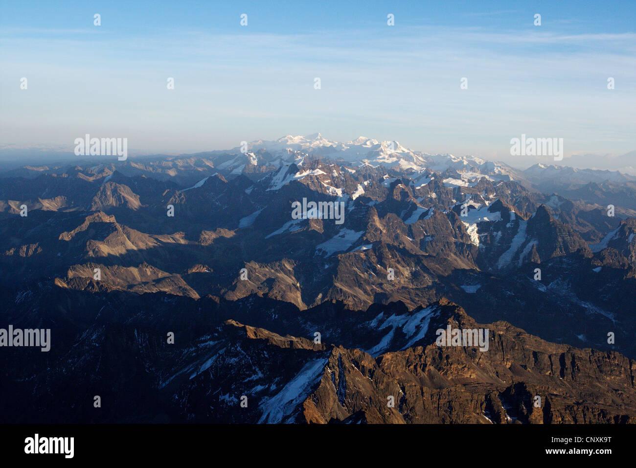 view from Huayna Potosi to Condoriri, Ancohuma and Illampu, Bolivia, Andes, Cordillera Real - Stock Image