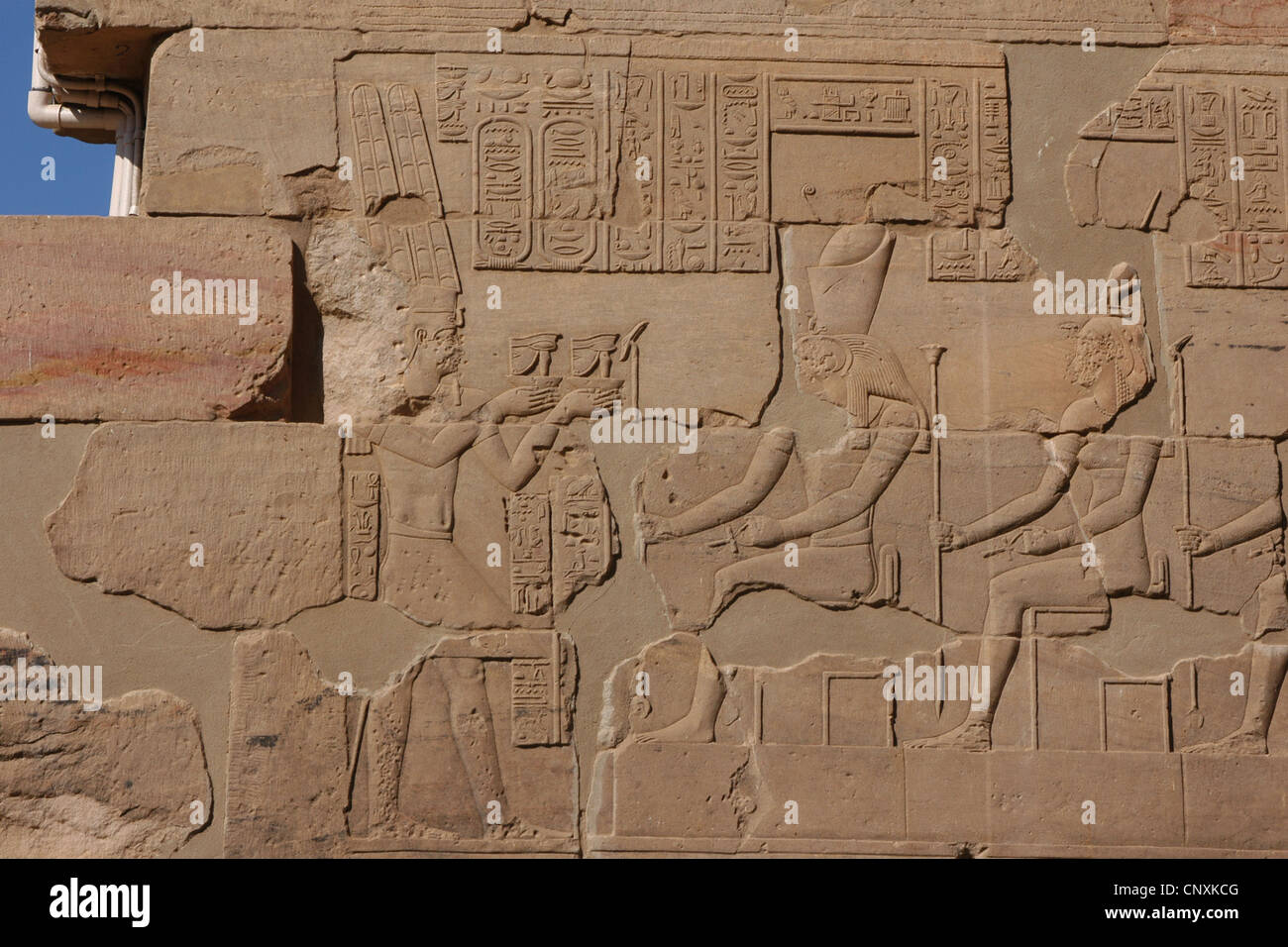 Roman Emperor Nero as Egyptian pharaoh. Relief from the Temple of Isis on Philae Island near Aswan, Egypt. - Stock Image