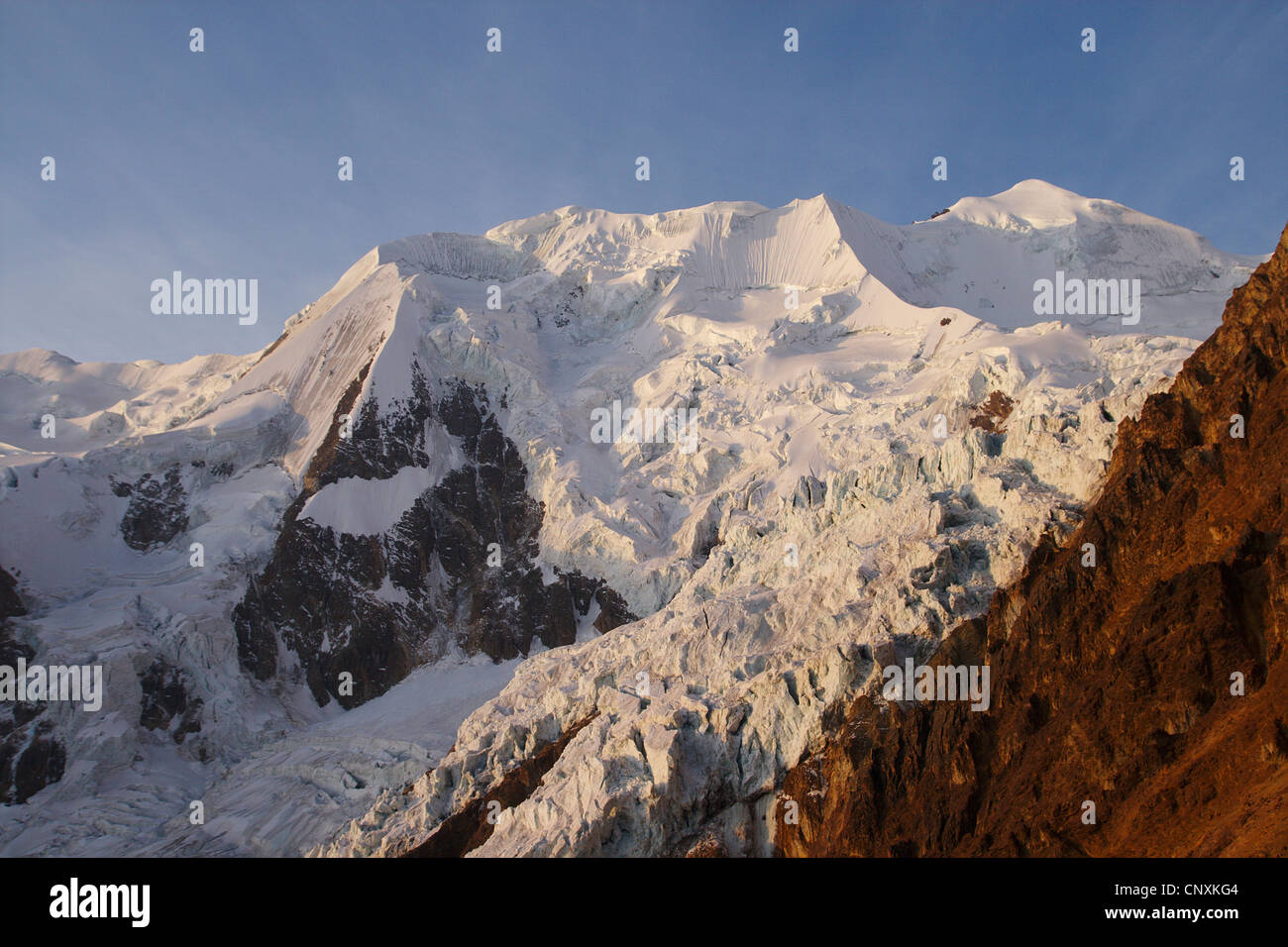 Illimani in evening light, Bolivia, Andes, Cordillera Real - Stock Image