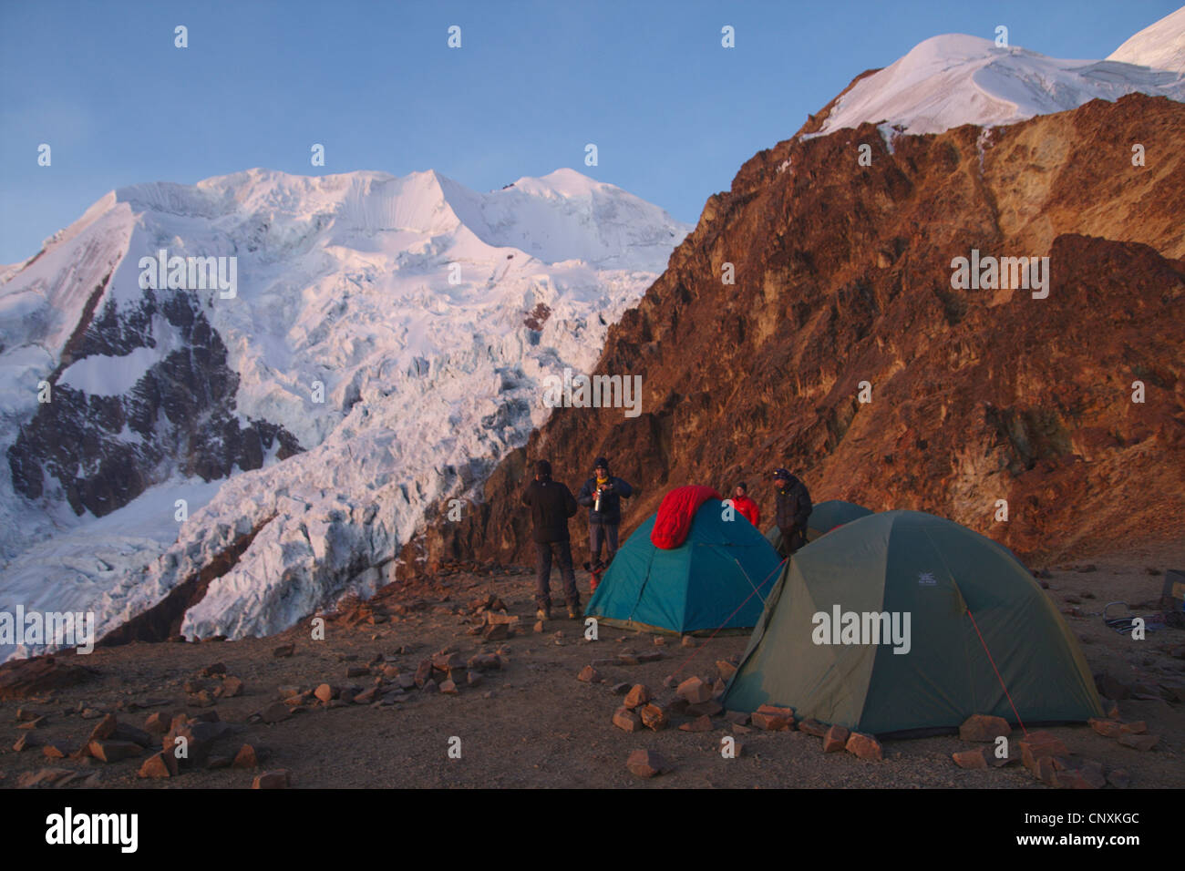 view from Illimani High Camp, Bolivia, Andes, Cordillera Real - Stock Image
