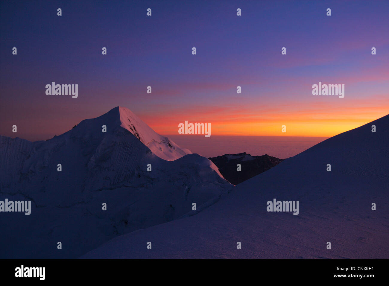 sunset at Illimani, Bolivia, Andes, Cordillera Real - Stock Image