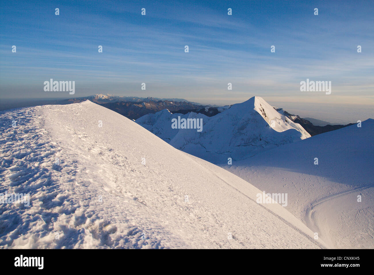 Illimani peak, Bolivia, Andes, Cordillera Real Stock Photo