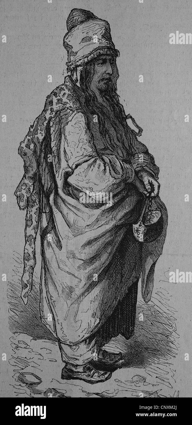 Walking dervish, historical engraving, 1883 - Stock Image
