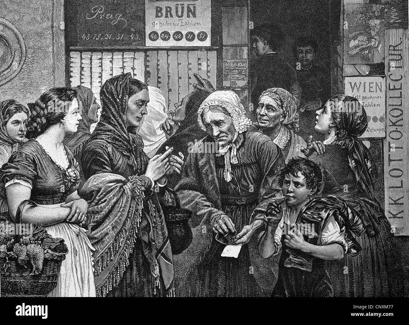 Lotto players, historical engraving, 1883 - Stock Image